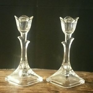 Vintage Crystal Tulip Candle Holders